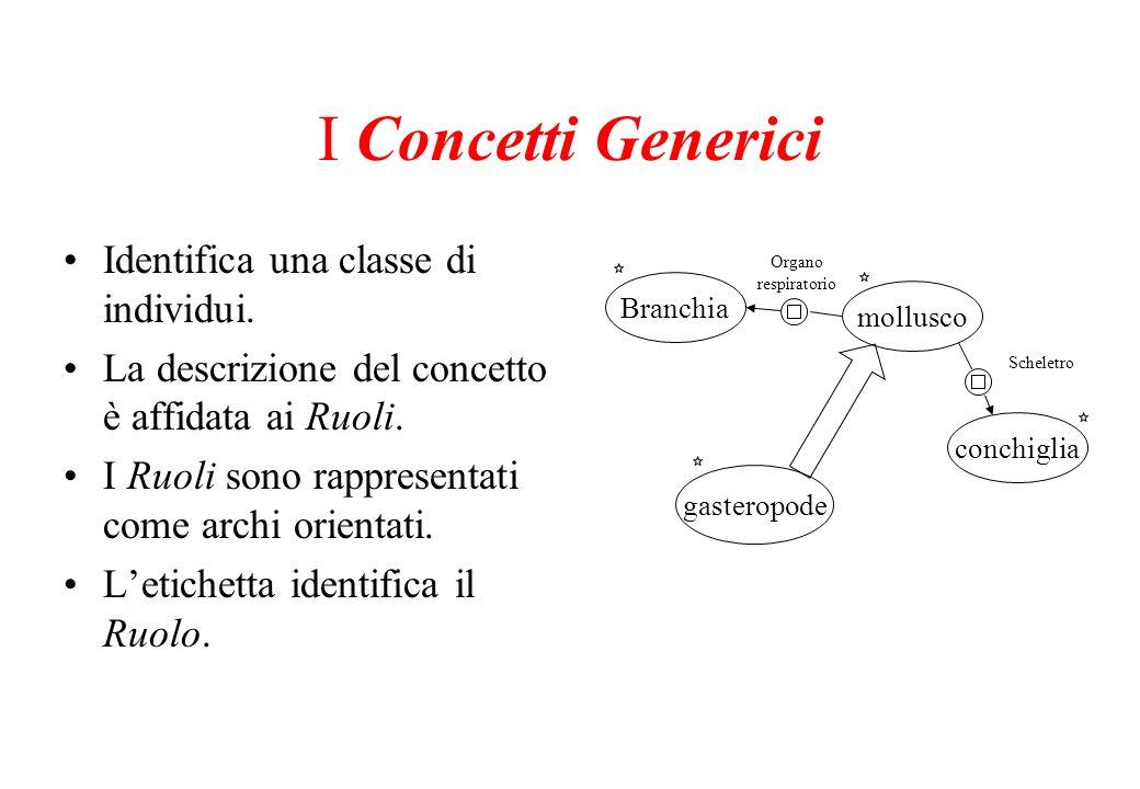 I Concetti Generici Identifica una classe di individui.