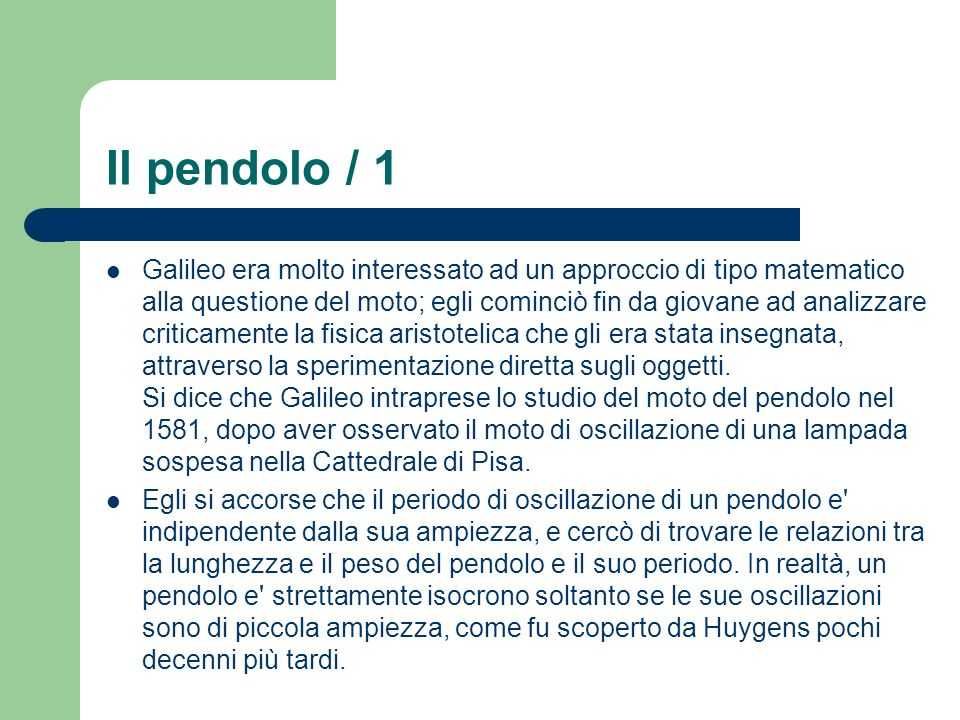 Il pendolo / 1