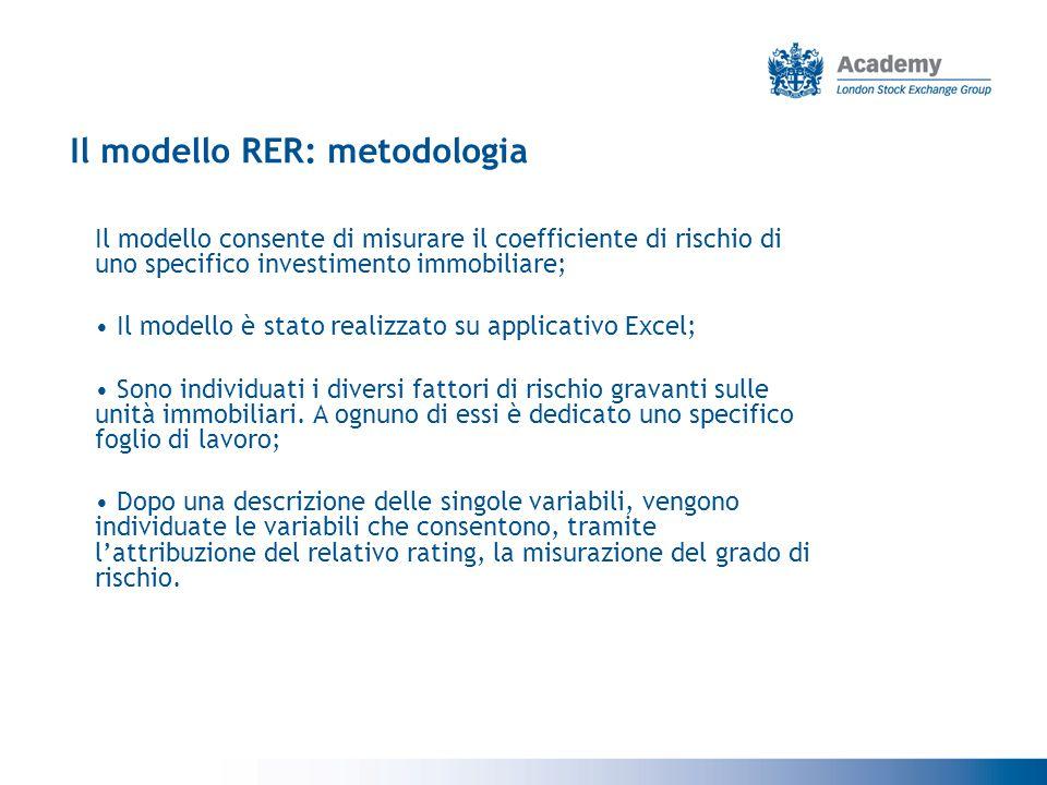Il modello RER: metodologia