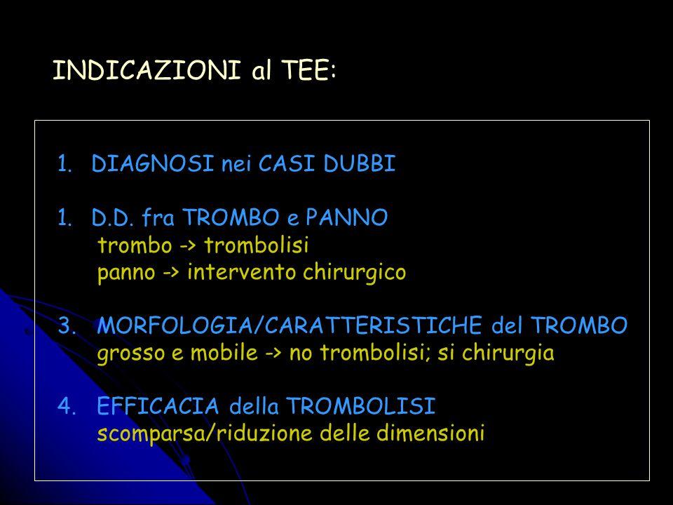INDICAZIONI al TEE: DIAGNOSI nei CASI DUBBI D.D. fra TROMBO e PANNO