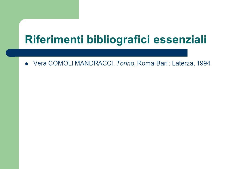 Riferimenti bibliografici essenziali