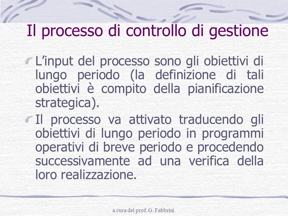 Il processo di controllo di gestione