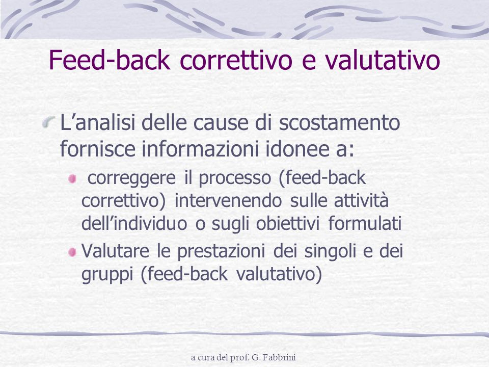 Feed-back correttivo e valutativo