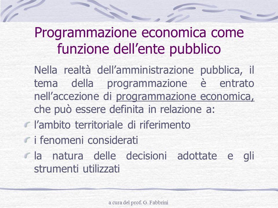Programmazione economica come funzione dell'ente pubblico