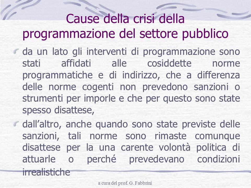 Cause della crisi della programmazione del settore pubblico
