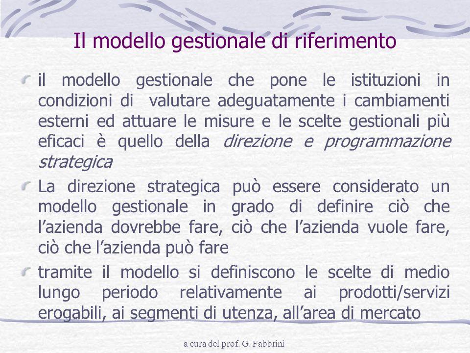 Il modello gestionale di riferimento