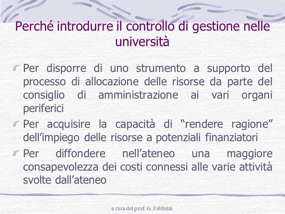 Perché introdurre il controllo di gestione nelle università