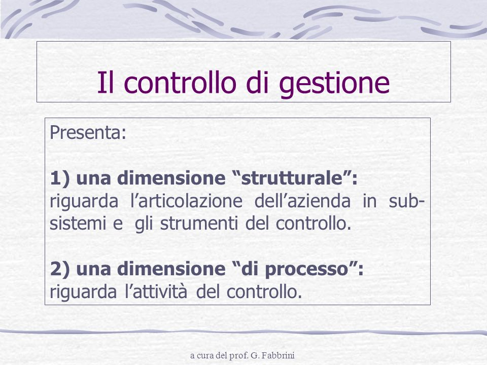 Il controllo di gestione