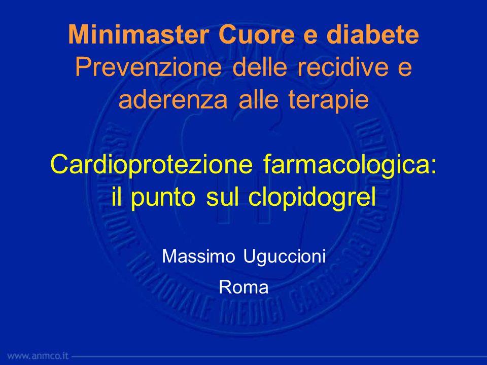 Minimaster Cuore e diabete Prevenzione delle recidive e aderenza alle terapie Cardioprotezione farmacologica: il punto sul clopidogrel Massimo Uguccioni Roma
