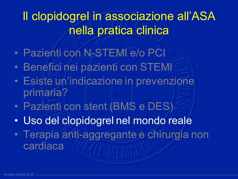 Il clopidogrel in associazione all'ASA nella pratica clinica