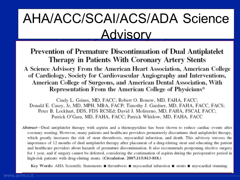 AHA/ACC/SCAI/ACS/ADA Science Advisory
