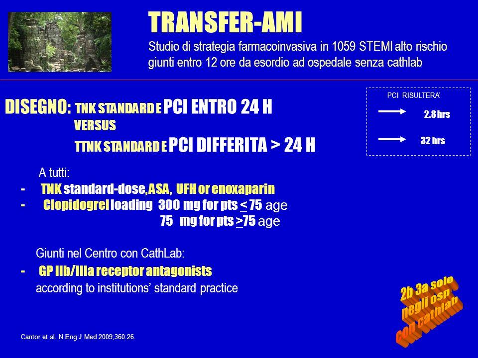 TRANSFER-AMI Studio di strategia farmacoinvasiva in 1059 STEMI alto rischio giunti entro 12 ore da esordio ad ospedale senza cathlab