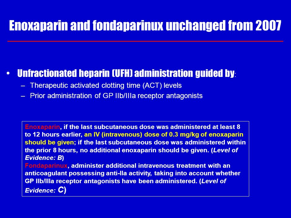 Enoxaparin and fondaparinux unchanged from 2007