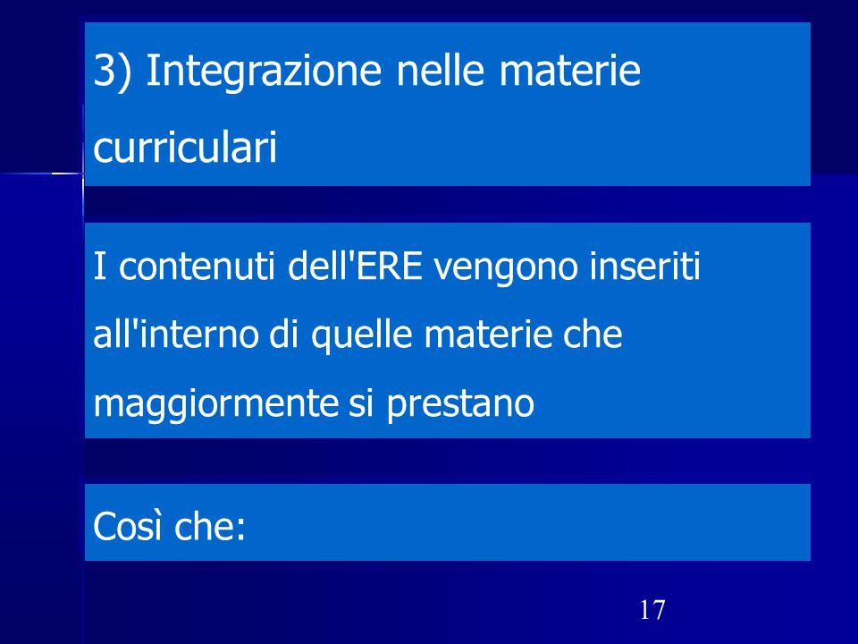 3) Integrazione nelle materie curriculari