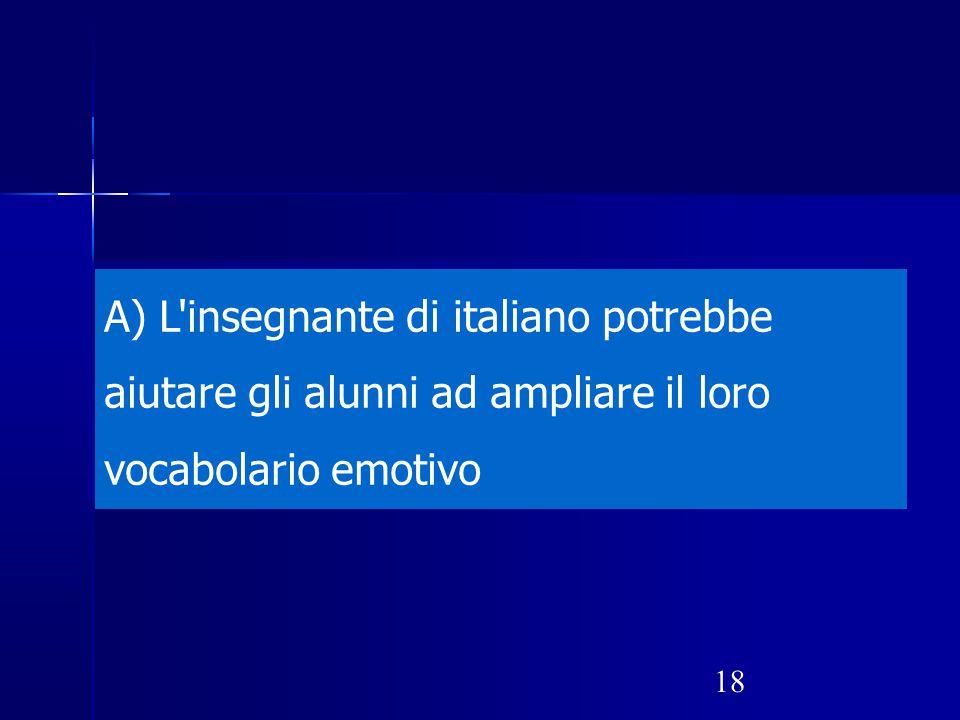 L insegnante di italiano potrebbe aiutare gli alunni ad ampliare il loro vocabolario emotivo