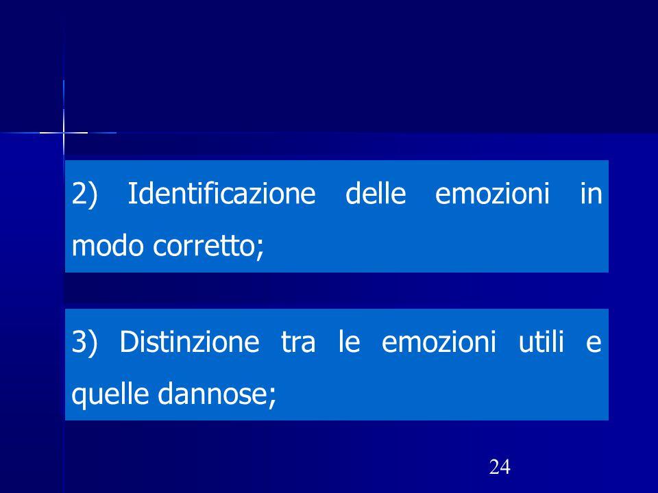 2) Identificazione delle emozioni in modo corretto;