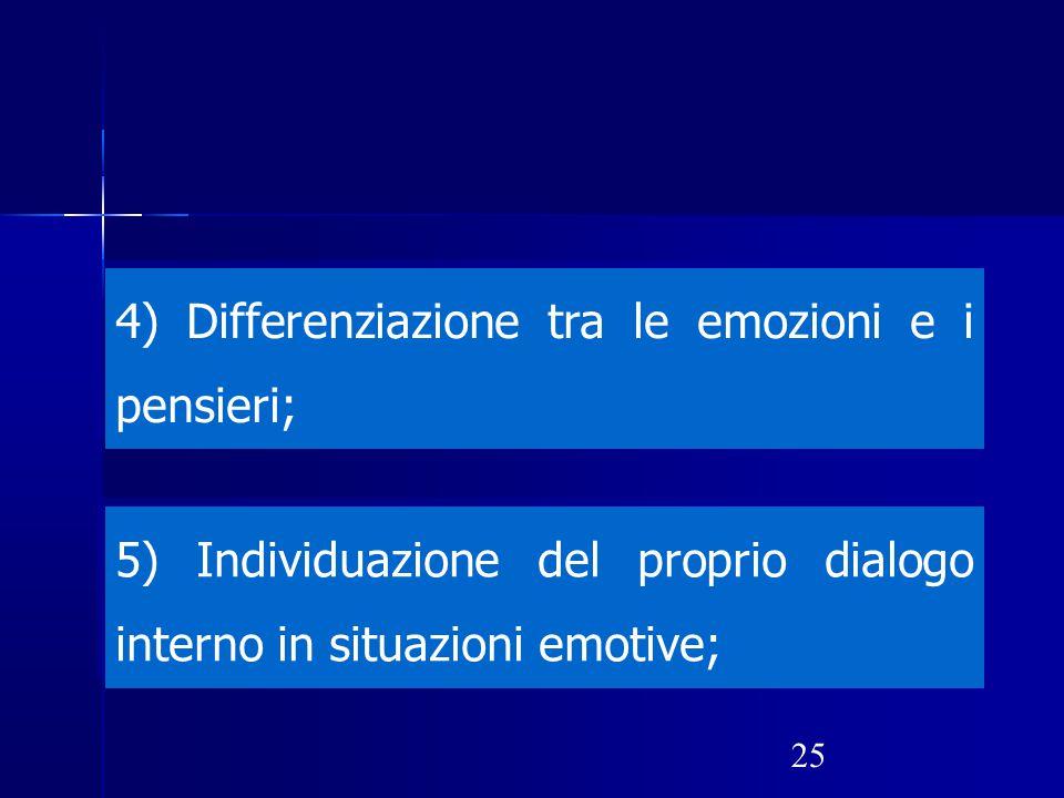 4) Differenziazione tra le emozioni e i pensieri;