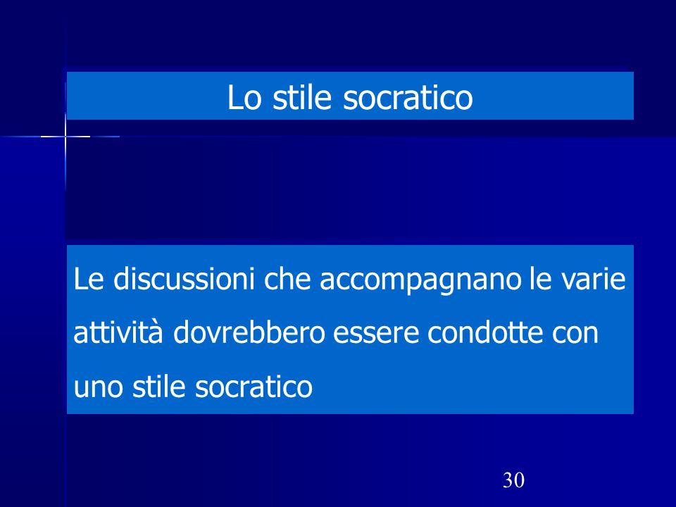 Lo stile socratico Le discussioni che accompagnano le varie attività dovrebbero essere condotte con uno stile socratico.