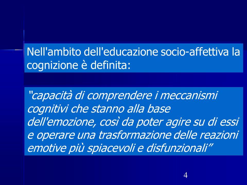 Nell ambito dell educazione socio-affettiva la cognizione è definita:
