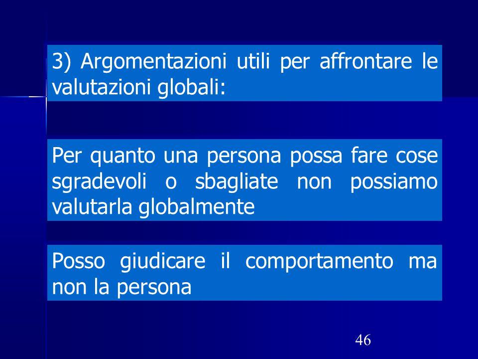3) Argomentazioni utili per affrontare le valutazioni globali: