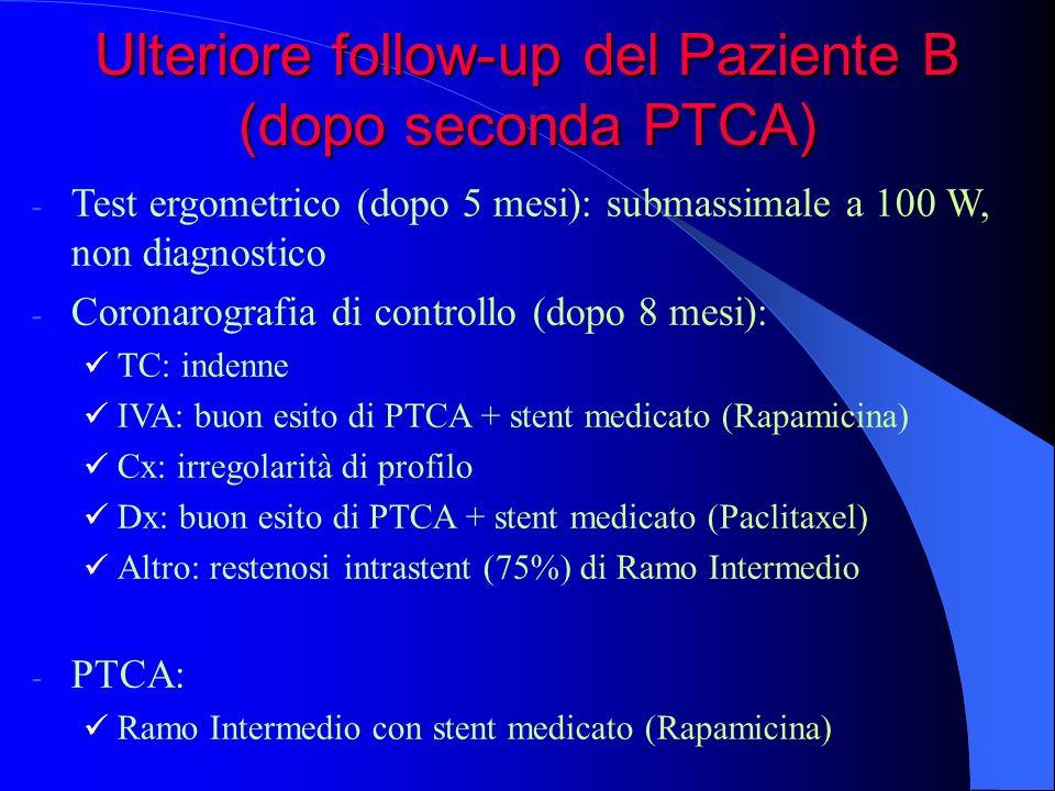 Ulteriore follow-up del Paziente B (dopo seconda PTCA)