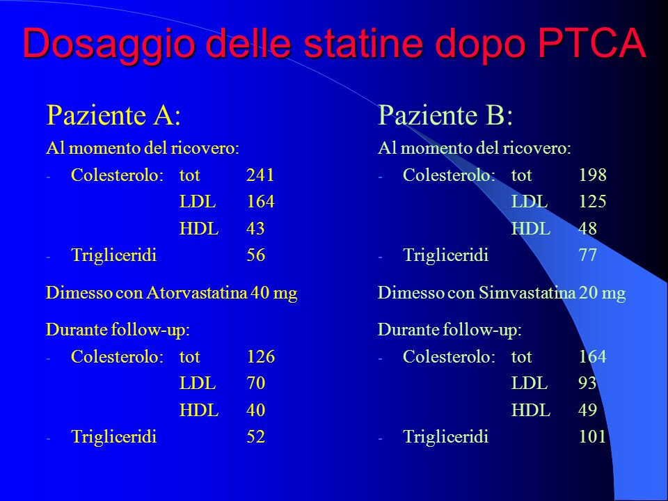 Dosaggio delle statine dopo PTCA