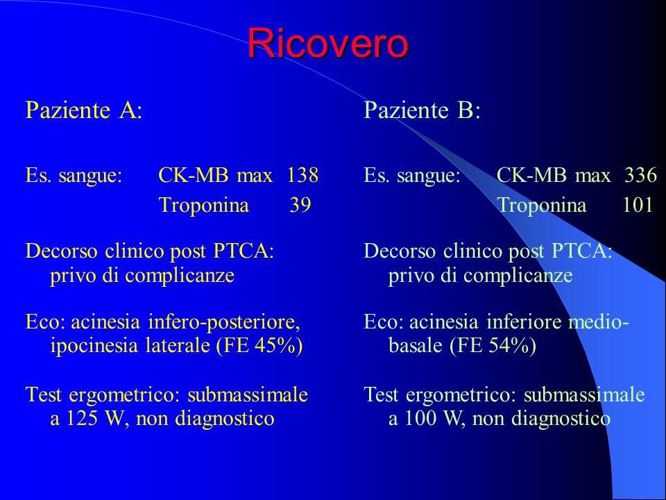 Ricovero Paziente A: Paziente B: Es. sangue: CK-MB max 138