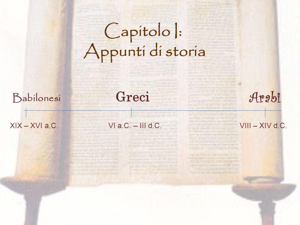 Capitolo I: Appunti di storia