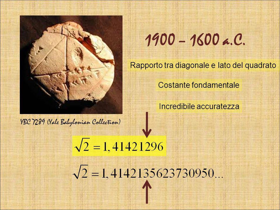 1900 – 1600 a.C. Rapporto tra diagonale e lato del quadrato