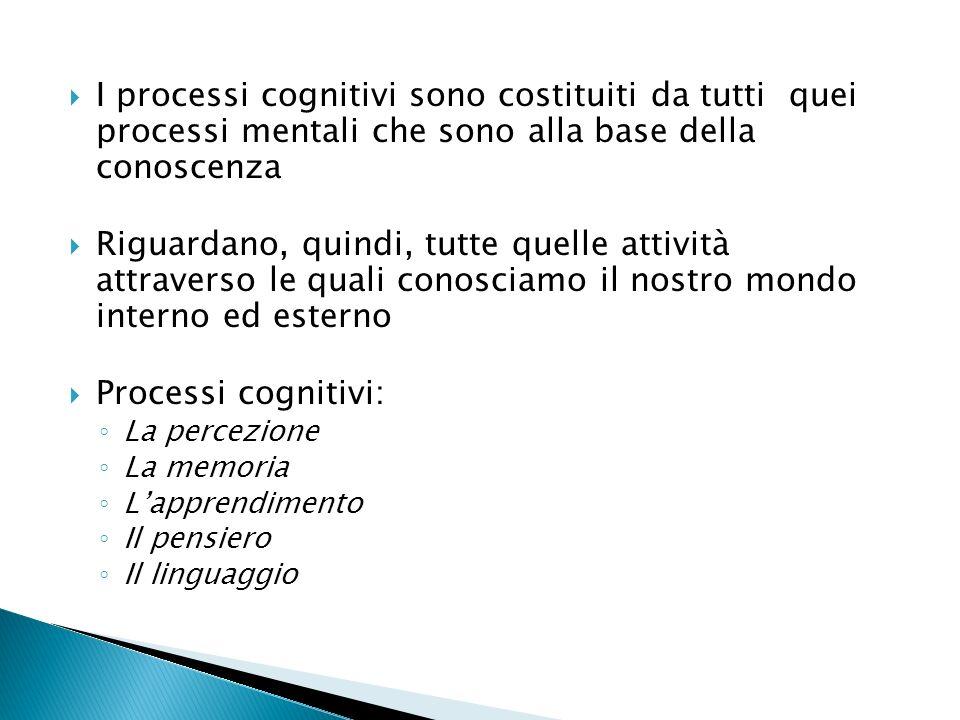 I processi cognitivi sono costituiti da tutti quei processi mentali che sono alla base della conoscenza