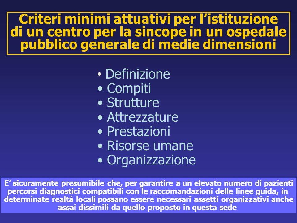 Criteri minimi attuativi per l'istituzione