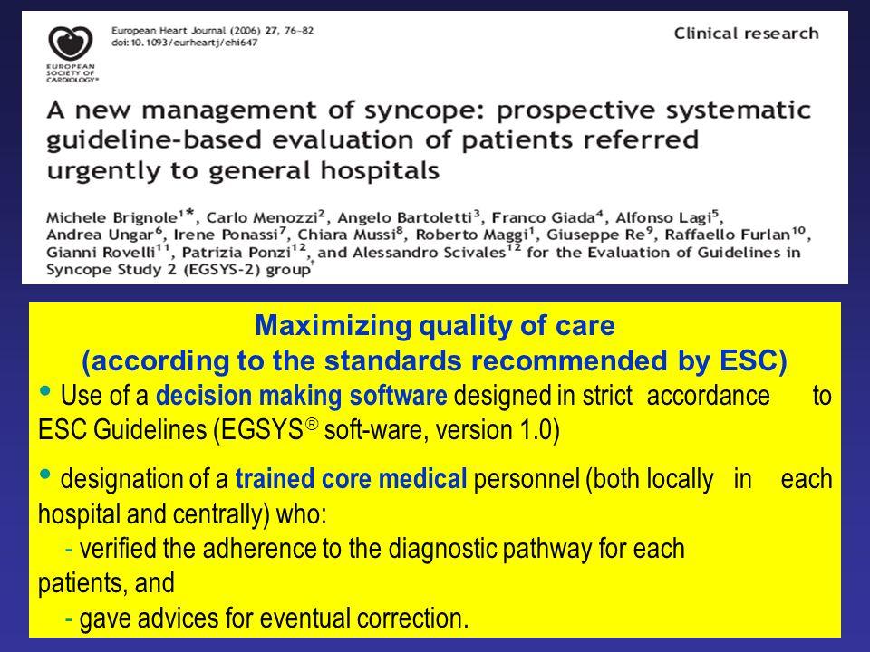 Maximizing quality of care