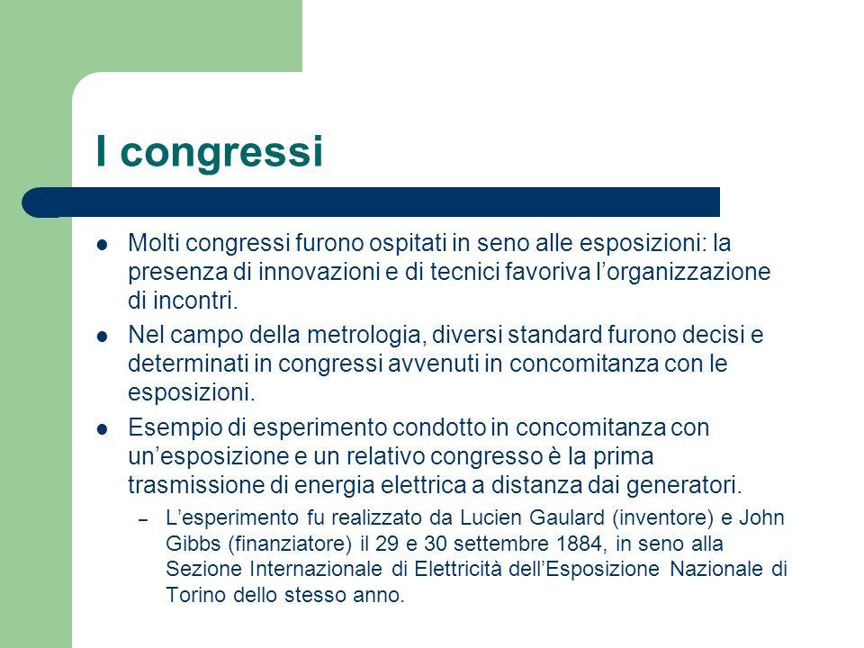 I congressi Molti congressi furono ospitati in seno alle esposizioni: la presenza di innovazioni e di tecnici favoriva l'organizzazione di incontri.