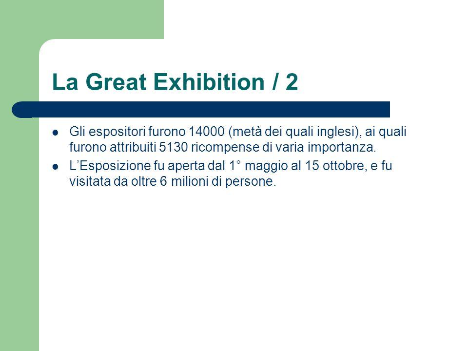 La Great Exhibition / 2 Gli espositori furono 14000 (metà dei quali inglesi), ai quali furono attribuiti 5130 ricompense di varia importanza.
