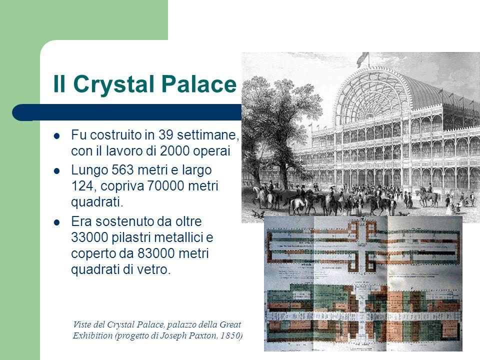 Il Crystal Palace Fu costruito in 39 settimane, con il lavoro di 2000 operai. Lungo 563 metri e largo 124, copriva 70000 metri quadrati.