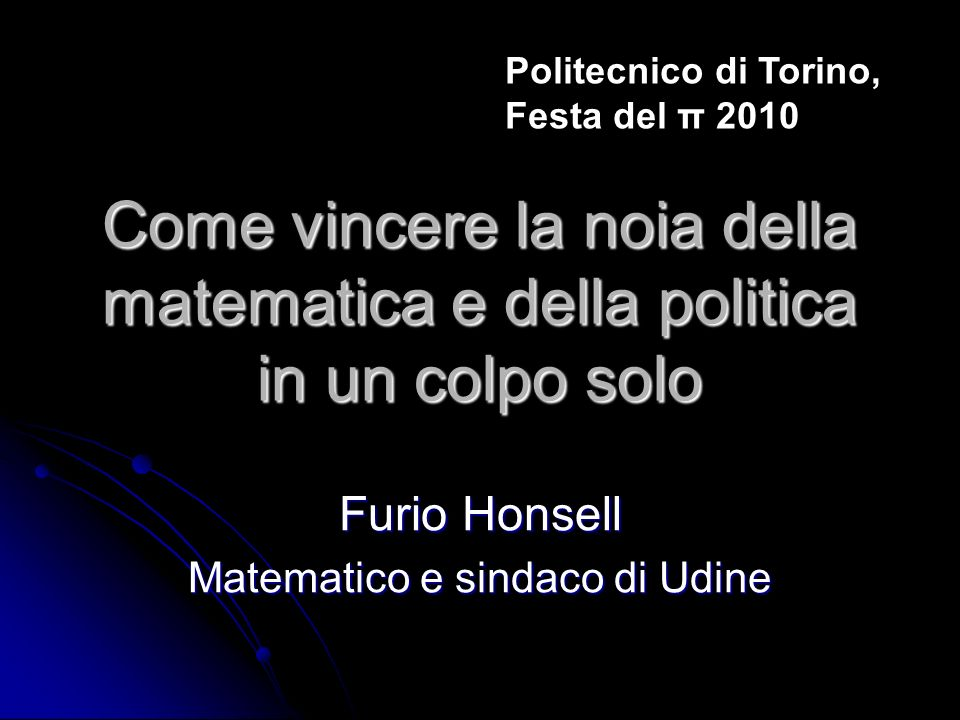 Furio Honsell Matematico e sindaco di Udine