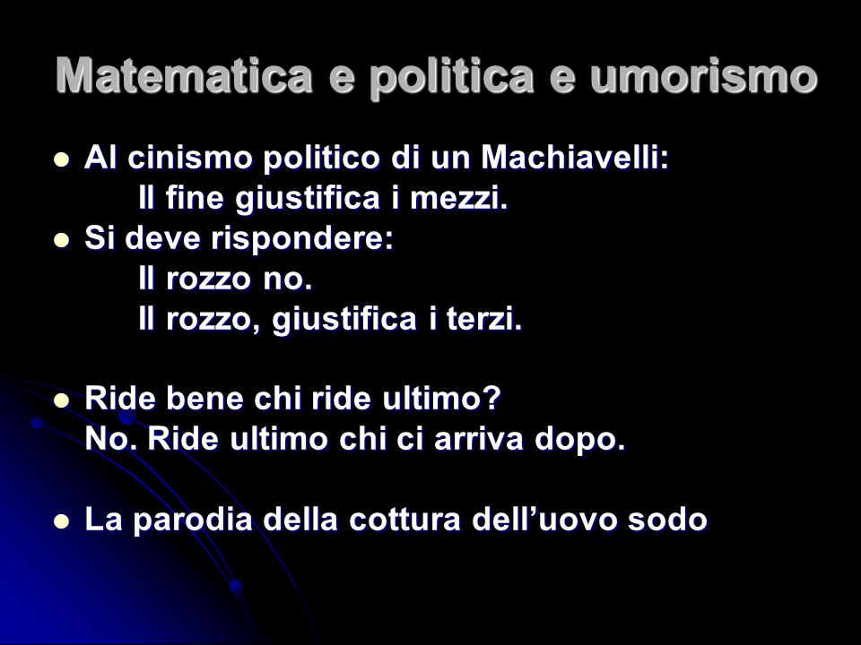 Matematica e politica e umorismo