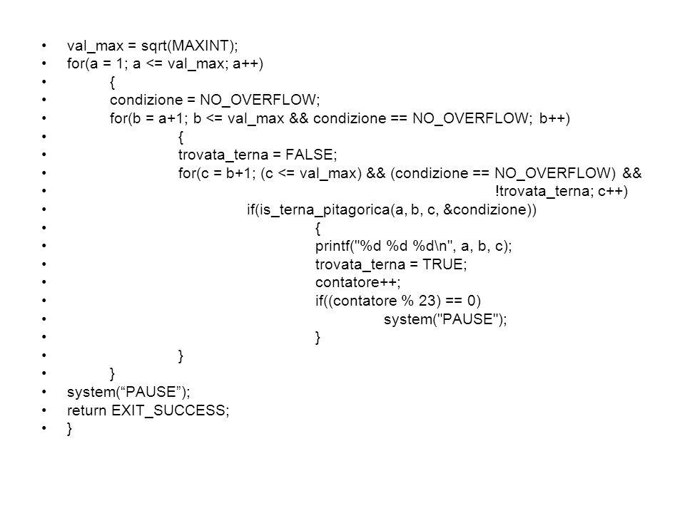 val_max = sqrt(MAXINT);