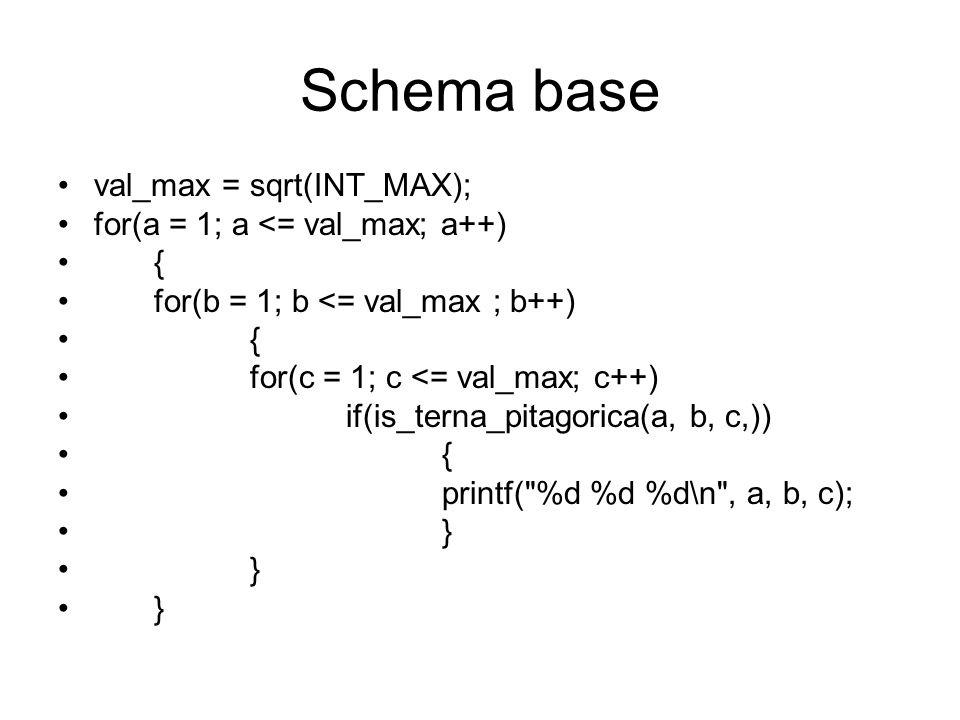 Schema base val_max = sqrt(INT_MAX); for(a = 1; a <= val_max; a++)