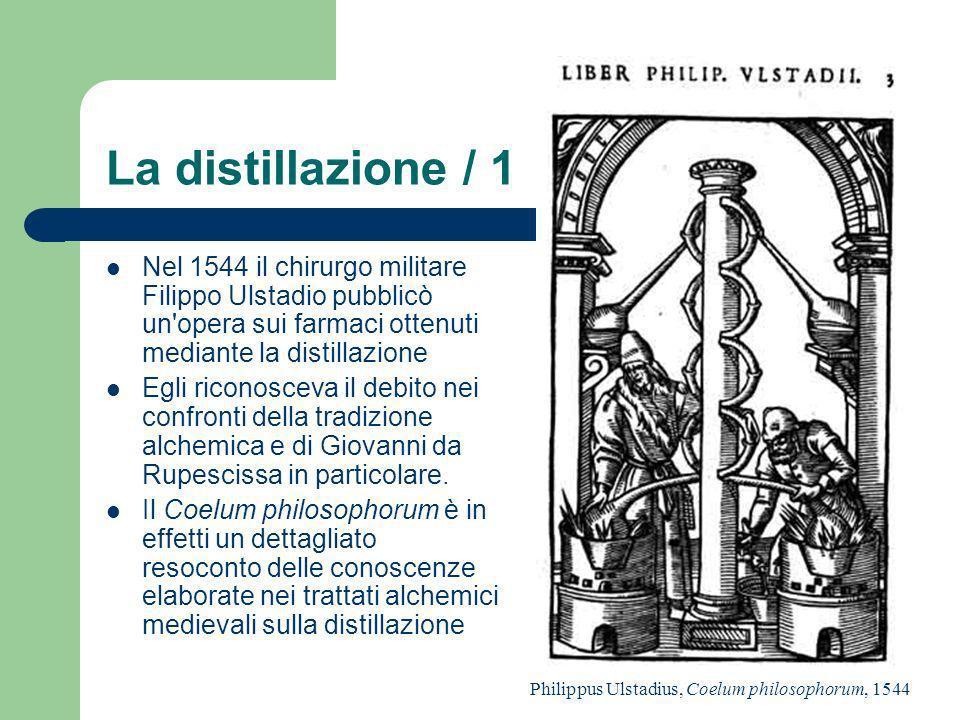 La distillazione / 1 Nel 1544 il chirurgo militare Filippo Ulstadio pubblicò un opera sui farmaci ottenuti mediante la distillazione.