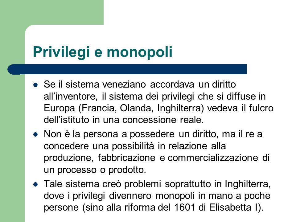 Privilegi e monopoli