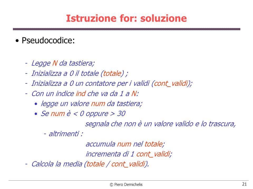 Istruzione for: soluzione