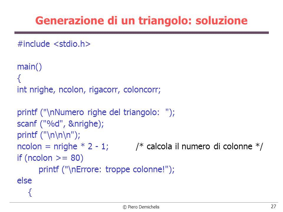 Generazione di un triangolo: soluzione