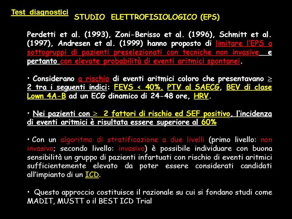 Test diagnostici STUDIO ELETTROFISIOLOGICO (EPS)