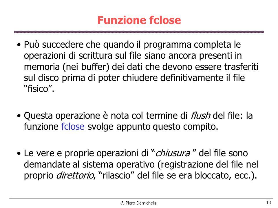 Funzione fclose