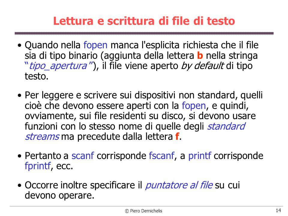 Lettura e scrittura di file di testo