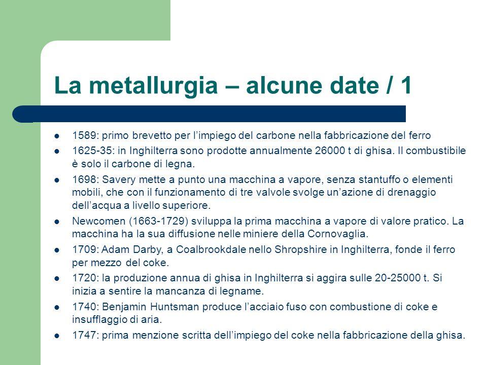 La metallurgia – alcune date / 1