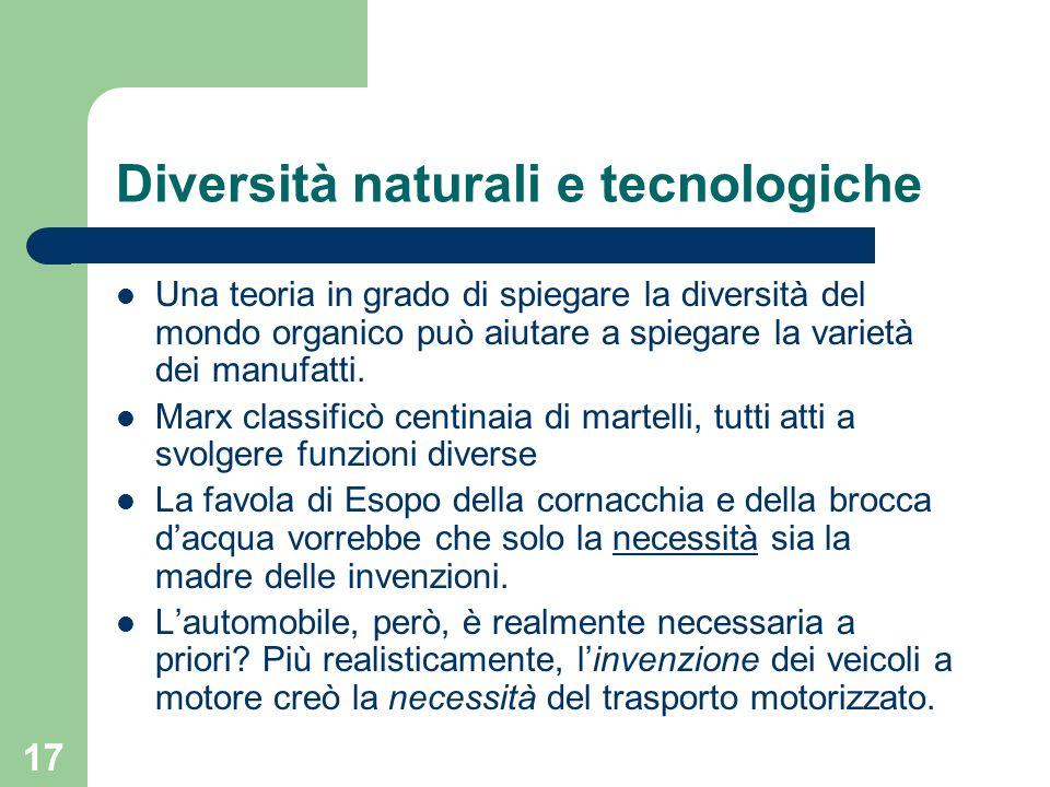 Diversità naturali e tecnologiche