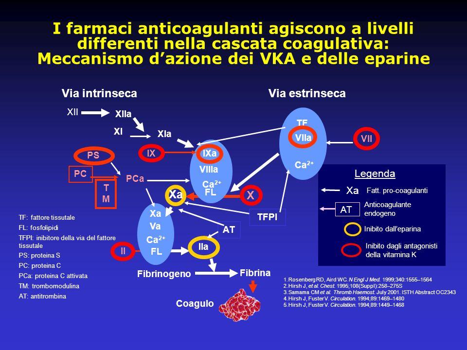 I farmaci anticoagulanti agiscono a livelli differenti nella cascata coagulativa: Meccanismo d'azione dei VKA e delle eparine
