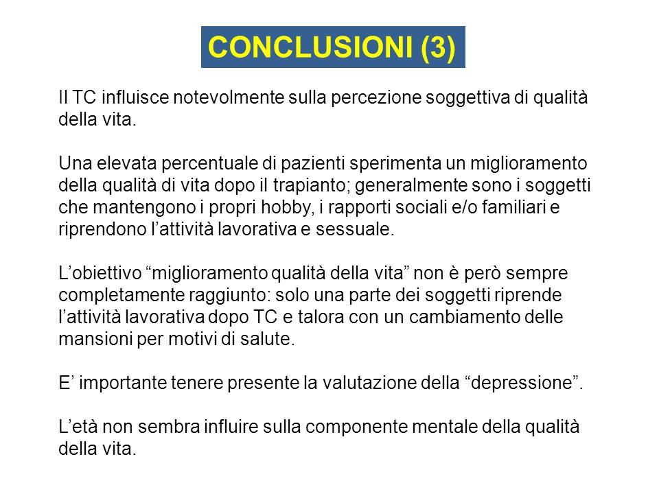 CONCLUSIONI (3) Il TC influisce notevolmente sulla percezione soggettiva di qualità della vita.